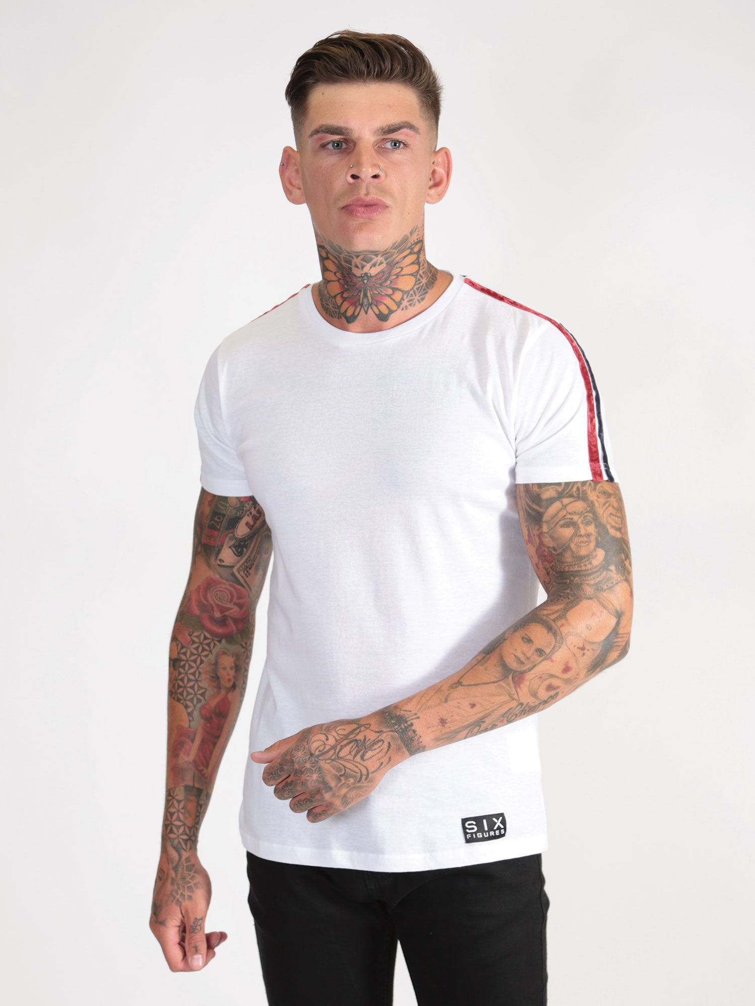 Velour Stripe T-Shirt - White