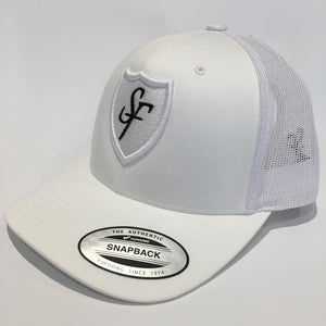 SIX FIGURES Shield Trucker Cap - White