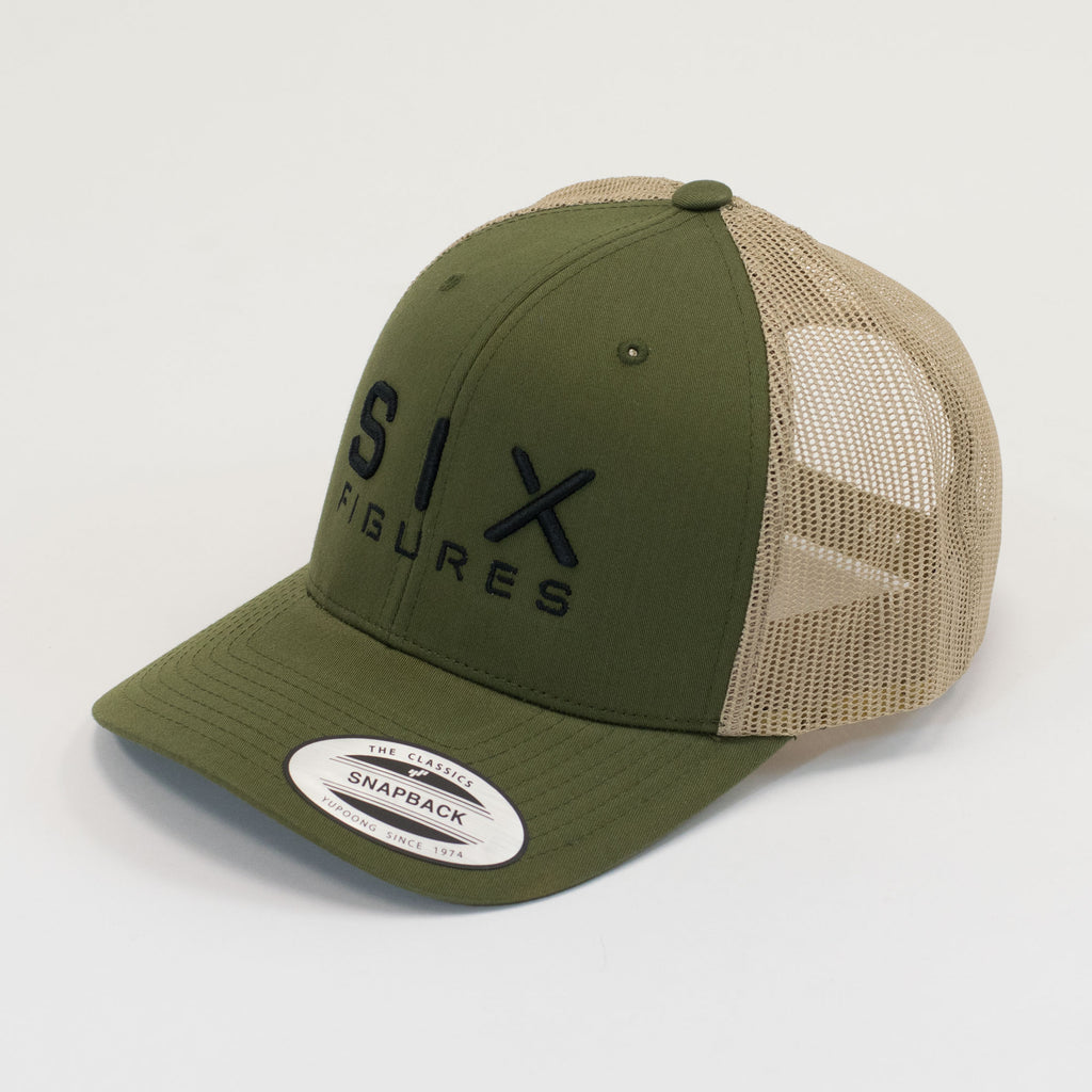 SIX FIGURES Trucker Cap - Olive + Black - Six Figures Official