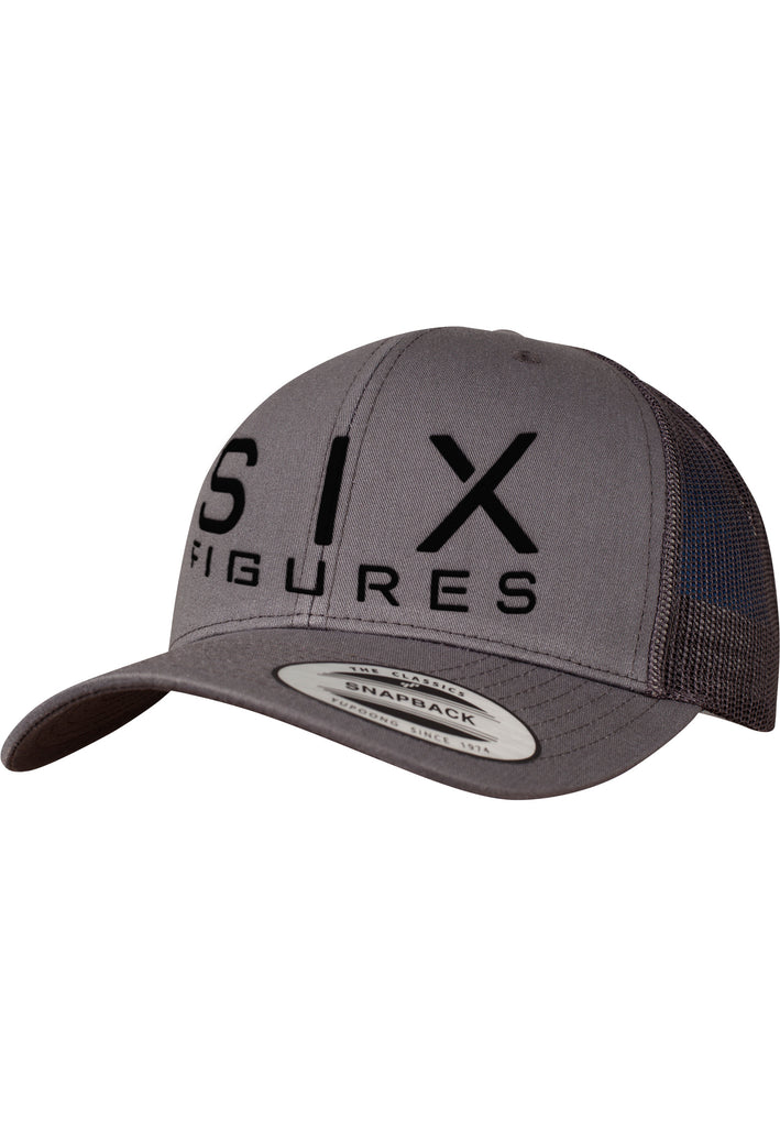 SIX FIGURES Trucker Cap - Black + Grey - Six Figures Official