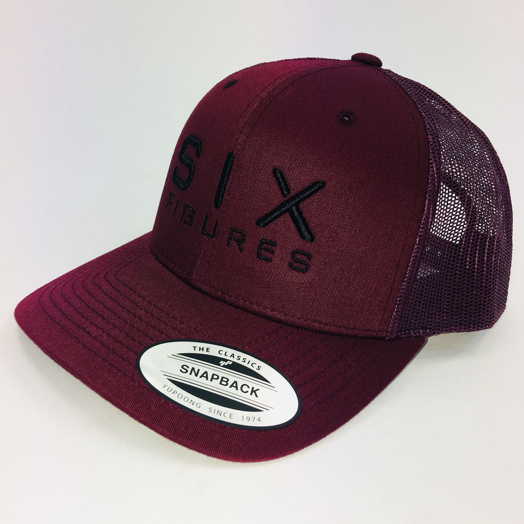SIX FIGURES Trucker Cap - Maroon + Black - Six Figures Official