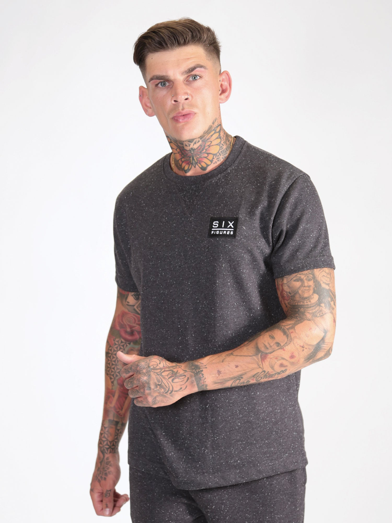 Fleck Short Sleeved Top - Charcoal