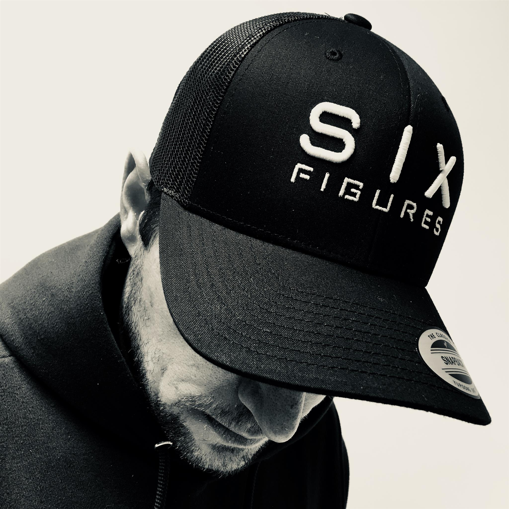 SIX FIGURES Trucker Cap - Black + White - Six Figures Official