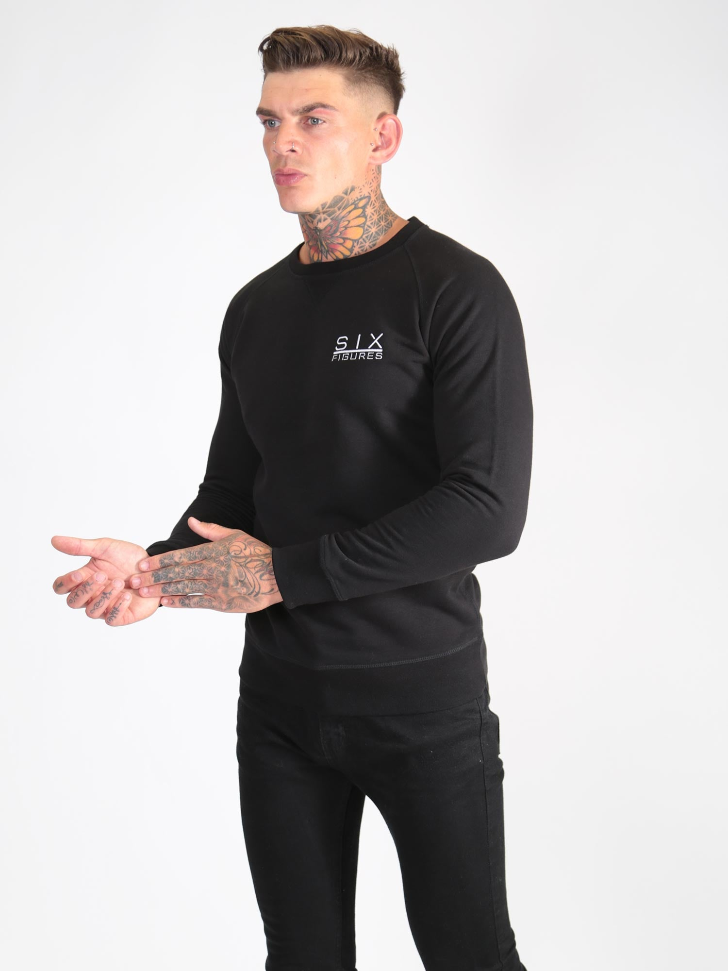 'Six Figures' Logo Sweatshirt - Black