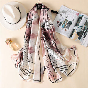 IANUS Women Silk Foulard Stylish Music Large Shawl Soft Smooth Scarf Blanket Elegant Digital Scarves NEW [3229]