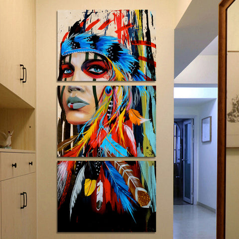 LIMITED EDITION NATIVE AMERICAN INDIAN WARRIOR 3-PIECE CANVAS PAINTING