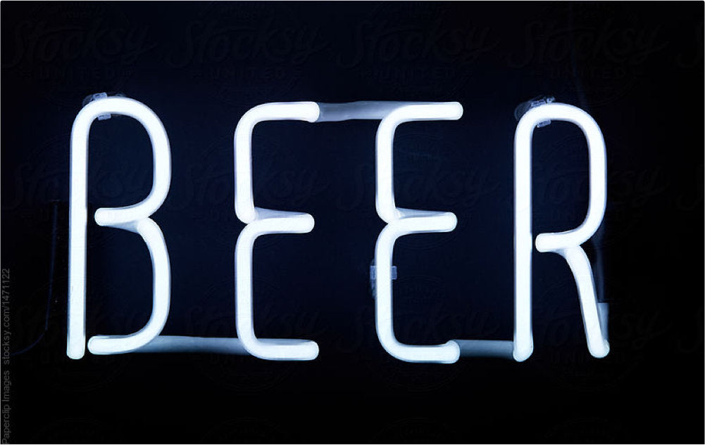 Light drawing of the word beer