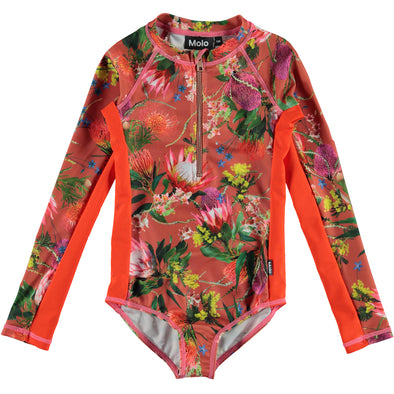 Necky Long Sleeve Flower Print Swimsuit