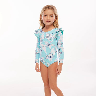 Ashanti Light Blue Pauli Long Sleeved Swimsuit
