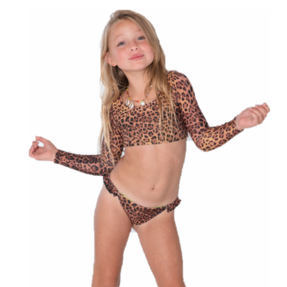 Animal Print Cropped Bikini Set
