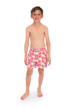 Boys Tropical Red Leaf Swim Trunks