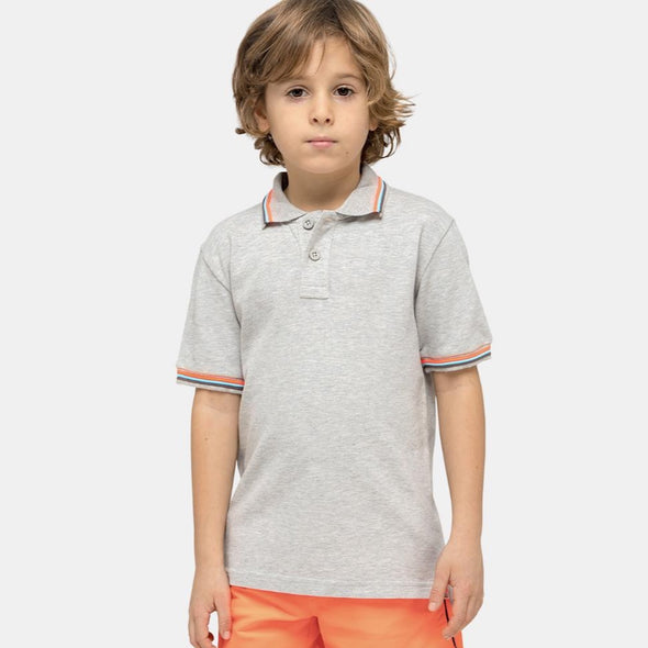 Boys Grey Mini Brice Polo Shirt in Pique