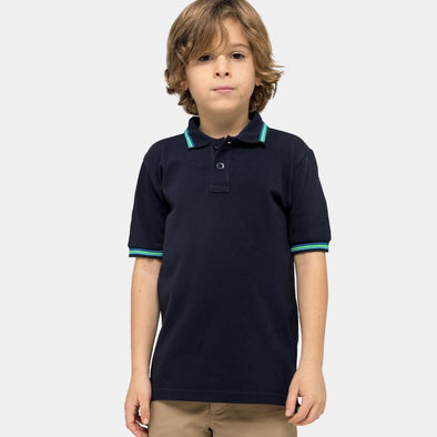 Boys Navy Mini Brice Polo Shirt in Pique