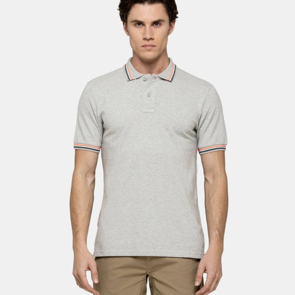 Men's Grey Brice Polo Shirt in Pique