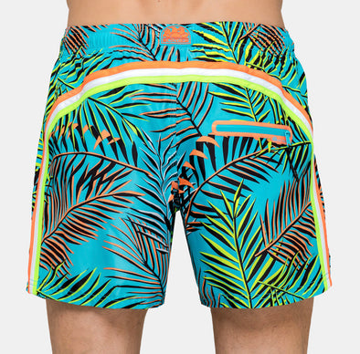 Men's Neon Palm Leaves Elastic Waist Swim Short