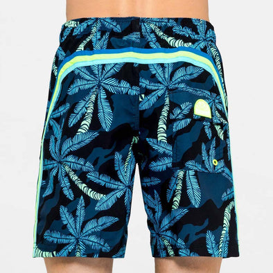 Men's Blue Palm Print Elastic Waist Mid Length Swim Trunks