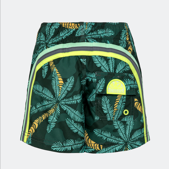 Green Palm Print Elastic Waist Swim Short