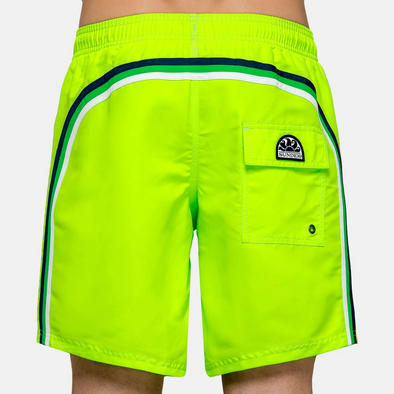 Men's Neon Green Elastic Waist Swim Short