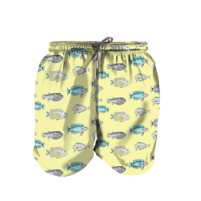 Yellow Scale Boy Swim Trunks