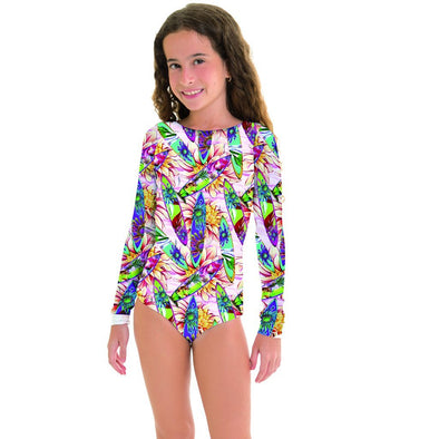 Long sleeve surf board print swimsuit for teens