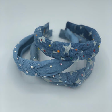 Light Denim Pearl Knotted Headband
