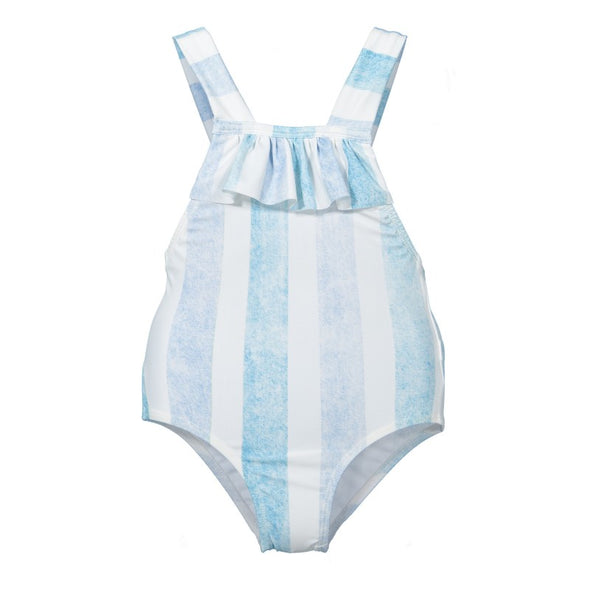 Striped Blue and White Swimsuit