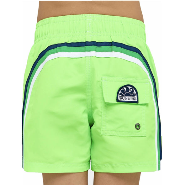 Neon Green Elastic Waist Swim Short