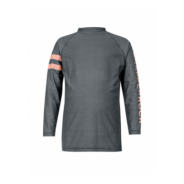 Boys Grey/Coral Striped Arm Rashguard