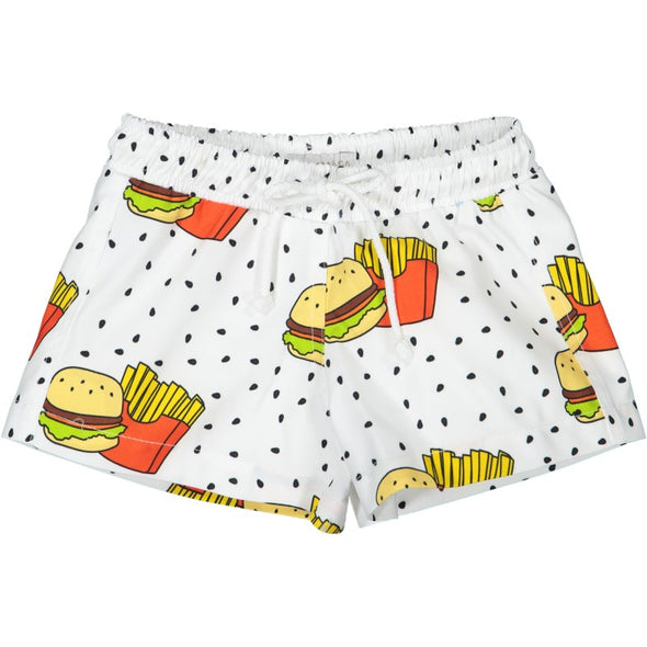 Hamburger and Fries Swim Trunks
