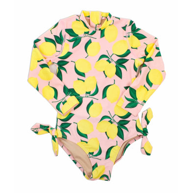 Lemon Print Long Sleeved Swimsuit