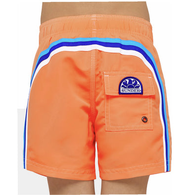 Neon Orange Elastic Waist Swim Short
