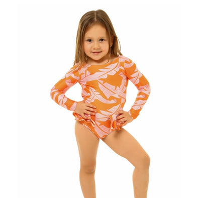 Pink Leaves Pauli Long Sleeved Swimsuit