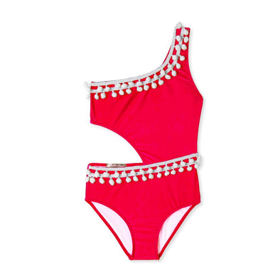 Red Side Cut Out Pom Pom Swimsuit