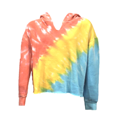 Coral, Yellow, Turquoise Tie Dye Hoodie