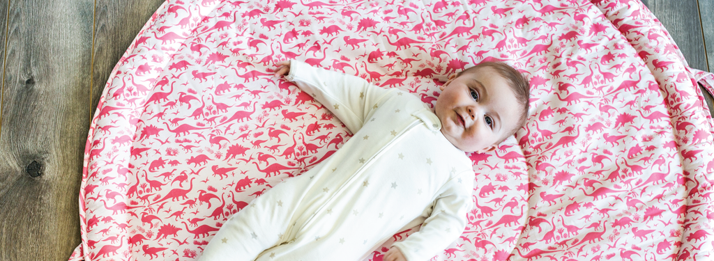 Dinos - a unisex nursery collection featuring cool dinosaur prints in pink and blue