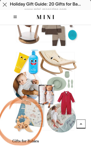 magazine article featuring Bebe au Lait Wooden Teether