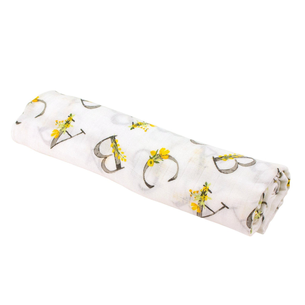 Floral Alphabet Single Luxury Muslin Swaddle Blanket - Swaddle Blanket - Bebe au Lait