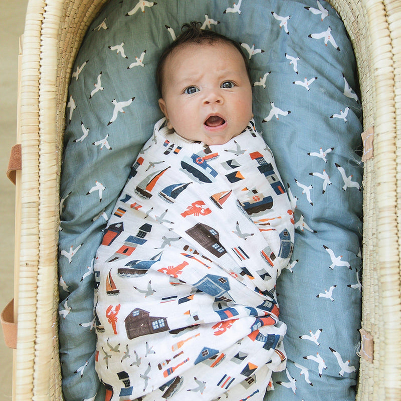 Nautical + Seagulls Luxury Muslin Swaddle Blanket Set