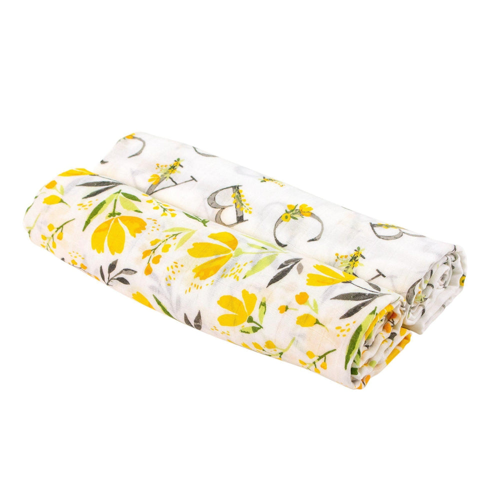 Royal Garden + Floral Alphabet Luxury Muslin Swaddle Blanket Set - Swaddle Blanket - Bebe au Lait