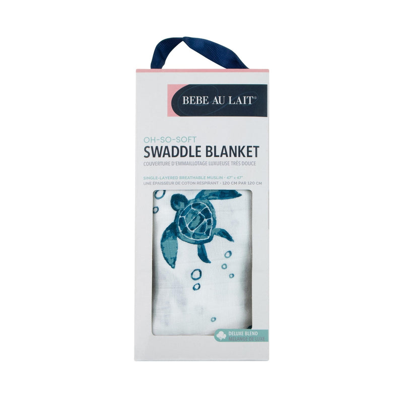 Sea Turtles Single Luxury Muslin Swaddle Blanket - Swaddle Blanket - Bebe au Lait