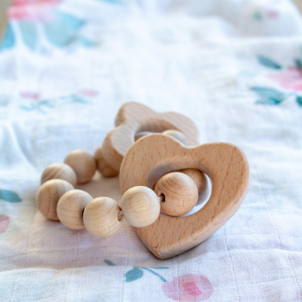 Heart & Flower Wooden Teether - Wooden Teether - Bebe au Lait