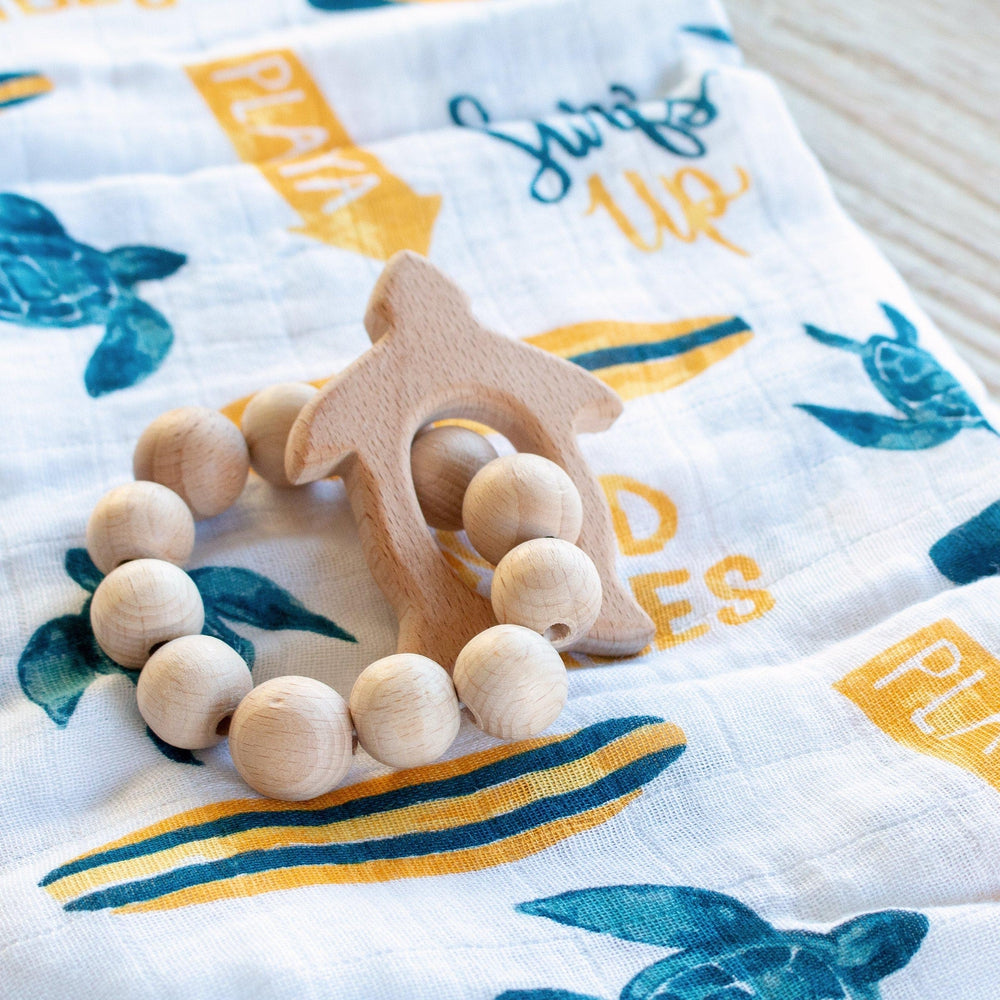 Turtle Wooden Teether - Wooden Teether - Bebe au Lait