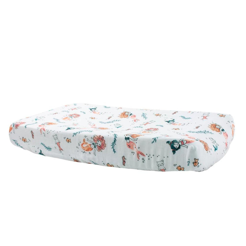 Mermaid Luxury Muslin Changing Pad Cover-Changing Pad Cover-Bebe au Lait