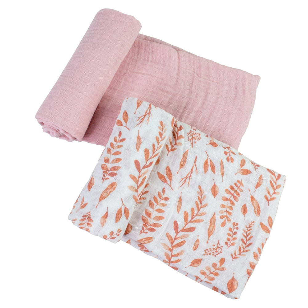 Pink Leaves + Cotton Candy Swaddle Blanket Set