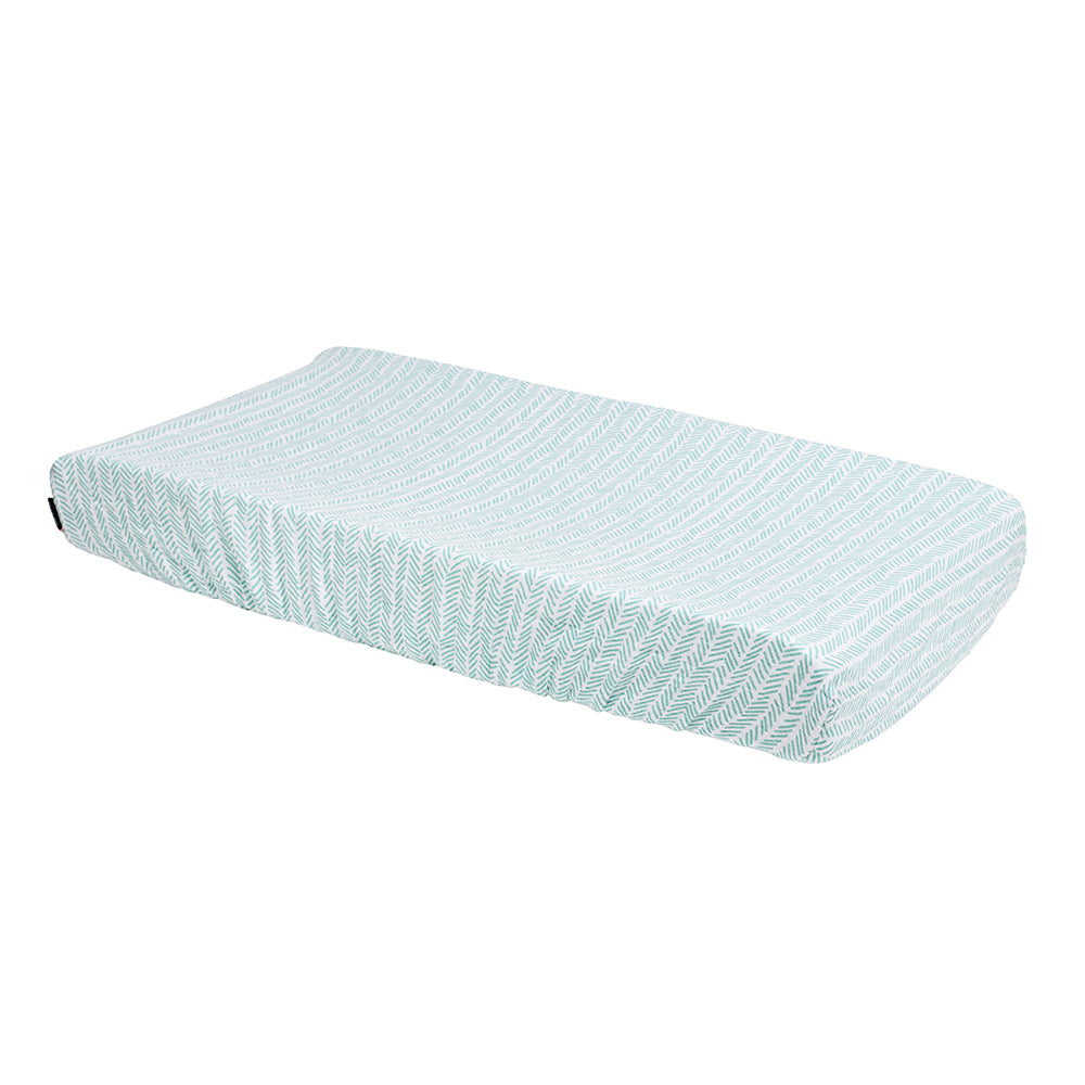 Zig-Zag Muslin Changing Pad Cover - Changing Pad Cover - Bebe au Lait