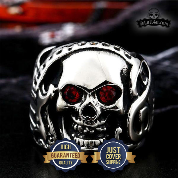 Skull Rock Ring With Red CZ Zircon