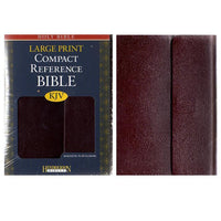 KJV Large Print Compact Reference Burgundy Bonded Leather. Snap flap