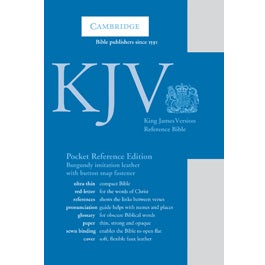 KJV Pocket Reference Edition KJ242:XRF  Burgundy Imitation Leather, with Flap Fastener