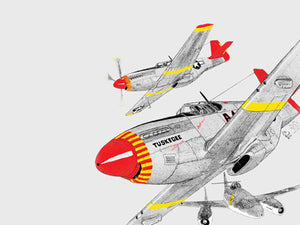 "Notecards featuring original artwork of Pete Fiegal's P-51C Mustang ""Tuskegee Airmen"""