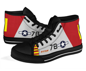 "P-51B ""Kitten"" of Brigadier General Charles McGee High Top Canvas Shoes"
